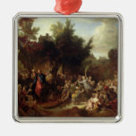 The Entry of Christ into Jerusalem, c.1720 Square Metal Christmas Ornament