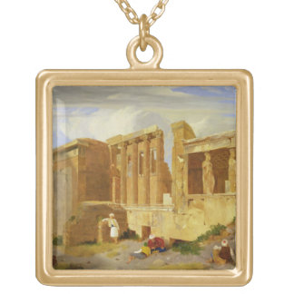 The Erechtheum, Athens, with Figures in the Foregr Gold Plated Necklace