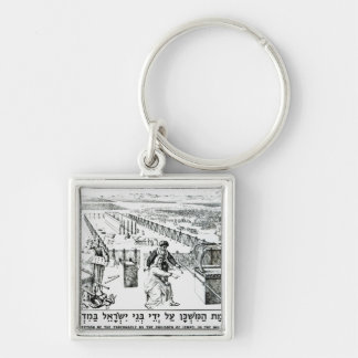 The Erection of the Tabernacle Silver-Colored Square Keychain