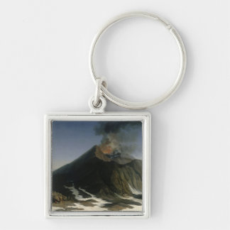 The Eruption of Etna Silver-Colored Square Keychain