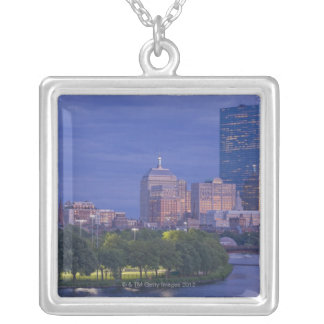 The Esplanade Ball Park and the Hatch Shell Square Pendant Necklace