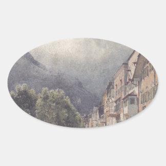 The Esplanade in Ischl by Rudolf von Alt Oval Sticker