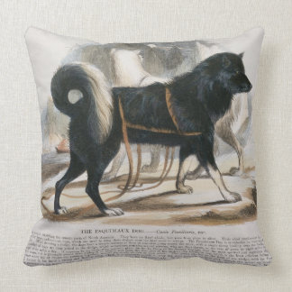 The Esquimaux Dog (Canis familiaris) educational i Throw Pillow