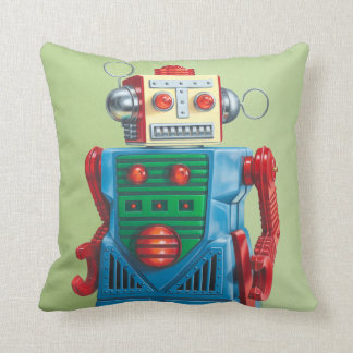 "The ""Eternal Optimist"" Robot Throw Pillow"