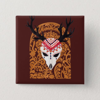 The Ethnic Deer Head Pinback Button