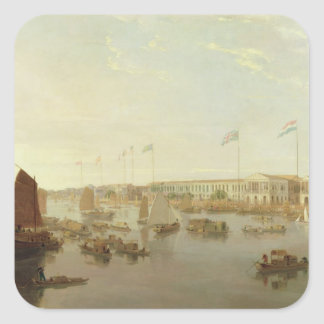 The European Factories, Canton, 1806 (oil on canva Square Sticker