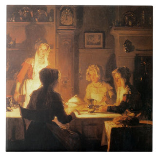 The Evening Meal, c.1900 (oil on canvas) Tile