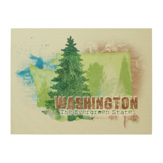 The Evergreen State Wood Print
