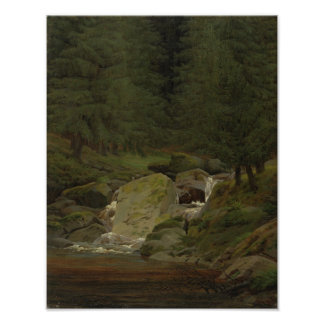 The Evergreens by the Waterfall Poster