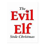 The Evil Elf Stole Christmas Post Card