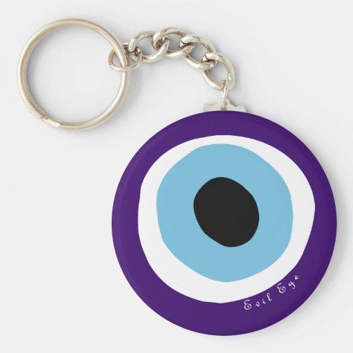 The evil eye basic round button keychain