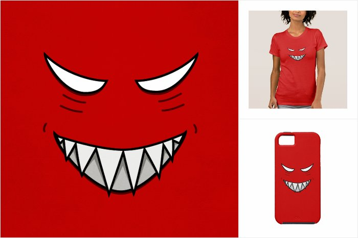 Dazzle collection of products with the evil grin illustration