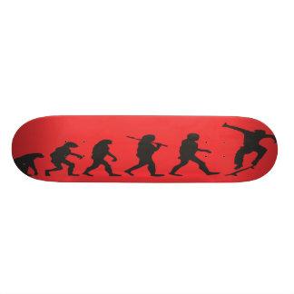 the evolution in red skateboard deck