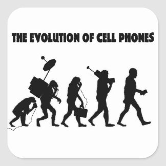 The Evolution Of Cell Phones Square Sticker