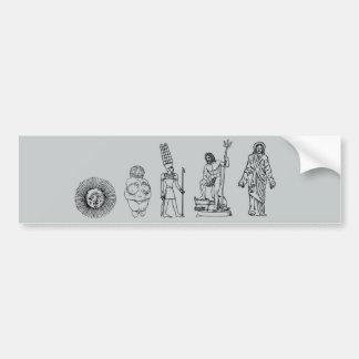 The Evolution of Religion Bumper Sticker