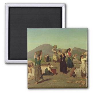 The Excavations at Pompeii, 1865 2 Inch Square Magnet