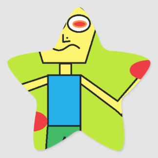 the excited dude star sticker
