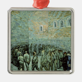The Exercise Yard, or The Convict Prison, 1890 Square Metal Christmas Ornament