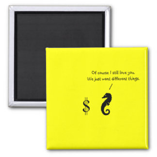 The Existential Seahorse_Different Things 2 Inch Square Magnet