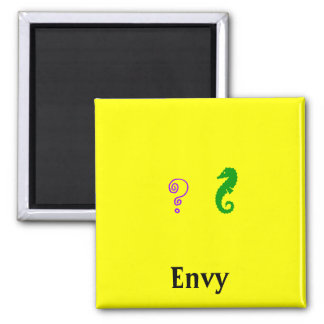 The Existential Seahorse_Envy 2 Inch Square Magnet