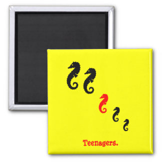 The Existential Seahorse_Teenagers 2 Inch Square Magnet