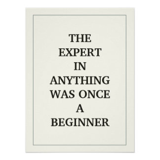 THE EXPERT  IN ANYTHING WAS ONCE A BEGINNER POSTER