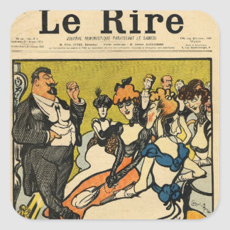 The Explorersfrom the front cover of Le Rire Square Sticker