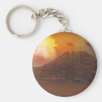 alien, aliens, creature, creatures, world, worlds, space, sci-fi, science, fiction, star, stars, moon, moons, nebula, starship, spaceship, fling, ufo, saucer, disc, planet, planets, pyramid, pyramids, culture, cultures, ufos, Keychain with custom graphic design