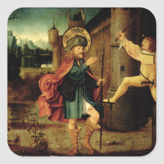 The Expulsion of Saint Roch from Rome Square Sticker