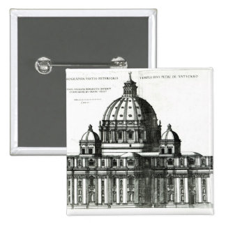 The Exterior of St. Peter's Basilica in Rome 2 Inch Square Button
