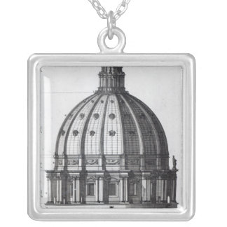 The exterior of the dome of St. Peter's, Rome Silver Plated Necklace