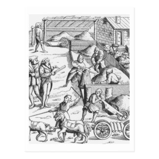 The extraction of metals, after a woodcut in 'Cosm Postcard