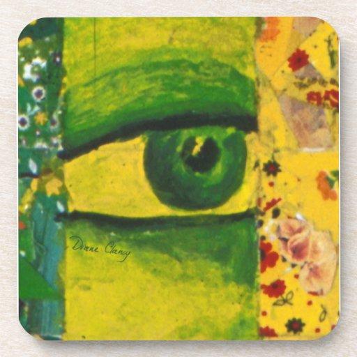The Eye - Gold & Emerald Awareness Coasters