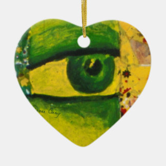The Eye - Gold & Emerald Awareness Heart Ornament