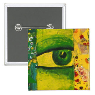 The Eye - Gold Emerald Awareness Square Button