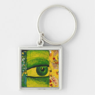 The Eye - Gold & Emerald Awareness Square Keychain