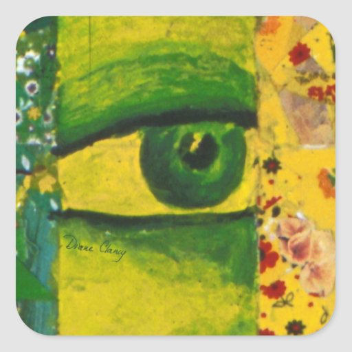 The Eye - Gold & Emerald Awareness Square Sticker