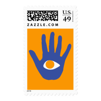 The eye in palm. postage stamps