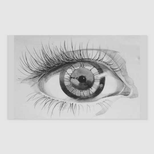 The eye of the time rectangular sticker