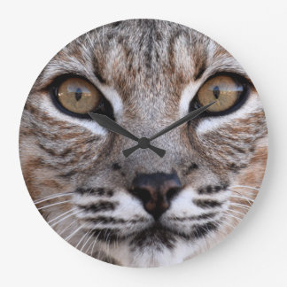 The Eyes Of A Bobcat Large Clock