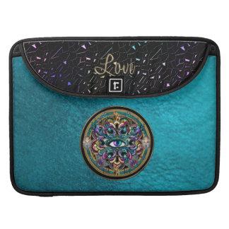 The Eyes of the World Mandala on Turquoise Leather MacBook Pro Sleeve