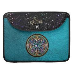 The Eyes of the World Mandala on Turquoise Leather Sleeve For MacBooks