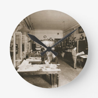 The Faberge Workshop (b/w photo) Round Clock