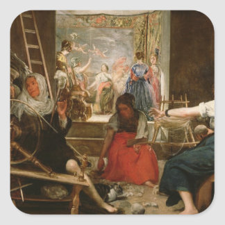 The Fable of Arachne, or The Spinners, c.1657 (oil Square Sticker