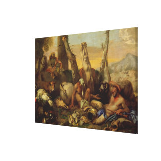 The Fable of Diogenes, looking with a lantern for Stretched Canvas Print