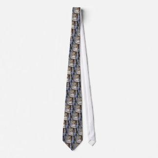 The facade of the city building neck tie
