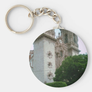 The facade of the Taxco cathedral Basic Round Button Keychain