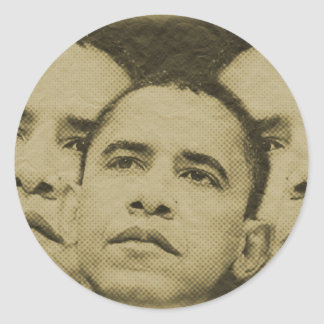 THE FACE OF OBAMA CLASSIC ROUND STICKER