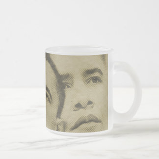 THE FACE OF OBAMA FROSTED GLASS COFFEE MUG