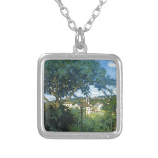 The Factory Village by Julian Alden Weir Square Pendant Necklace